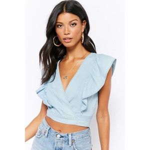 FOREVER 21 ruffle chambray crop top